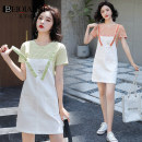 Dress Summer 2020 S M L XL Middle-skirt Two piece set Short sleeve commute Crew neck High waist Solid color Socket One pace skirt routine straps 18-24 years old Type H Beiqianni Korean version More than 95% other Other 100%
