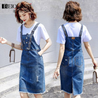 Dress Summer 2020 S M L XL 2XL Mid length dress singleton  Sleeveless commute other High waist Solid color Socket A-line skirt other straps 18-24 years old Type A Beiqianni Korean version Hand worn pocket strap button with holes SD1F01A16530 More than 95% other Other 100%
