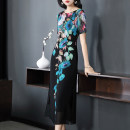 Dress Summer of 2019 Black print red print red S M L XL XXL XXXL Mid length dress singleton  Short sleeve commute Crew neck middle-waisted Big flower Socket A-line skirt routine Others 30-34 years old Magic pleat Ol style ML098 More than 95% Chiffon polyester fiber Polyester 100%