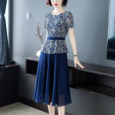 Dress Summer of 2019 S M L XL XXL XXXL Mid length dress Fake two pieces Short sleeve commute Crew neck High waist Decor Socket A-line skirt routine Others 30-34 years old Type A Magic pleat Ol style Zipper printing More than 95% Chiffon polyester fiber Polyester 100% Pure e-commerce (online only)