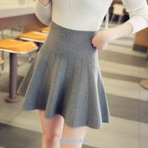 skirt Autumn 2016 S,M,L,XL Short skirt Versatile High waist A-line skirt Solid color Type A More than 95% knitting Other / other other