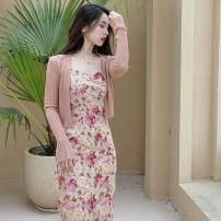 Dress Summer 2016 Gray and blue flowers, pay attention to store collection, give priority to goods delivery (do not XS,S,M,L longuette singleton  Sleeveless Broken flowers other Others 18-24 years old Ranti Backless, printed other other