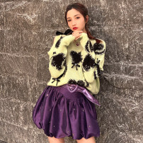 skirt Spring 2021 XS,S,M,L,XL violet Short skirt commute High waist skirt Solid color 18-24 years old 30% and below polyester fiber printing lady