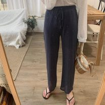 Casual pants Black, girl pink, premium green, haze blue Average size Summer of 2019 trousers Wide leg pants High waist commute routine 18-24 years old 30% and below other