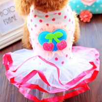 Pet clothing / raincoat currency Dress Size XS (1.0-1.9 kg recommended), size S (2.0-3.9 kg recommended), size M (4.0-5.9 kg recommended), size L (6.0-8.5 kg recommended), size XL (8.5-12 kg recommended), size XXL (12-16 kg recommended) Dogbaby princess Cherry puff skirt A9 Pink A19 lip skirt cotton