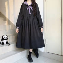 Dress Autumn 2020 Picture color (pay attention to small gifts from stores) S,M,L,XL longuette singleton  Long sleeves Sweet Admiral High waist A-line skirt routine Frenulum 0610Y165890372434 solar system