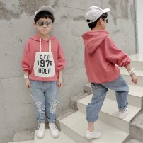 Sweater / sweater Other / other Off white, pink male 110cm,120cm,130cm,140cm,150cm,160cm spring and autumn No detachable cap Korean version Socket routine There are models in the real shooting cotton Solid color Cotton 92% others 8% Class B