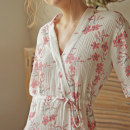 Pajamas / housewear set female Litsea cubeba Average size White smoke purple cotton Middle sleeve Simplicity Leisure home summer Thin money V-neck Plants and flowers Tether youth More than 95% Gauze cotton printing Cotton 100% Spring of 2019 Middle-skirt