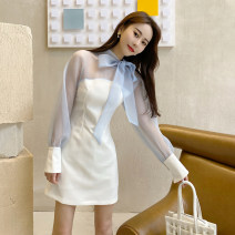 Dress Summer 2021 White mesh pink mesh S M L Short skirt singleton  Long sleeves commute Crew neck High waist Solid color One pace skirt puff sleeve 25-29 years old Type A Saucher Retro 422XK00001 More than 95% polyester fiber Polyester 100% Pure e-commerce (online only)