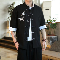 shirt Youth fashion M L XL 2XL 3XL 4XL 5XL routine stand collar elbow sleeve easy Home spring youth Cotton 100% Chinese style 2020 Plants and flowers Spring 2020 Embroidery cotton Button decoration Pure e-commerce (online only) More than 95%