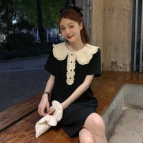 Women's large Summer 2020 Black dress Large L Large XL s M Dress singleton  commute easy moderate Socket Short sleeve Solid color Korean version Lotus leaf collar Medium length polyester fiber routine M923 All Meena 18-24 years old 71% (inclusive) - 80% (inclusive) Medium length Other 100%