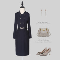 Dress Winter 2020 Single blue Collection Plus purchase priority delivery [don't take item] contact customer service to recommend size [don't take item] S M L XL 2XL 3XL Mid length dress singleton  Long sleeves commute stand collar High waist Solid color zipper One pace skirt routine 25-29 years old