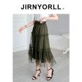 skirt Summer 2020 S M L XL green Mid length dress commute High waist Cake skirt Solid color JG20136 More than 95% Jirnyorll / Jinyou polyester fiber Gauze Polyester 100% Pure e-commerce (online only)