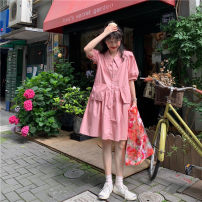 shirt Pink White Black S M L Summer 2021 other 96% and above Short sleeve Original design Medium length Polo collar Single row multi button puff sleeve Solid color 18-24 years old High waist type Peng Si A815P pocket Other 100% Pure e-commerce (online only) blending