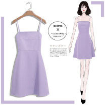 Dress Summer 2020 2XL S M L XL Short skirt singleton  Sleeveless commute One word collar High waist Solid color Socket A-line skirt other camisole 18-24 years old Type A Tan Mengluo Korean version straps More than 95% polyester fiber Other polyester 95% 5% Pure e-commerce (online only)