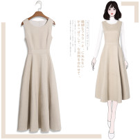 Dress Autumn 2020 S M L XL 2XL 3XL Mid length dress Two piece set Sleeveless commute One word collar High waist Solid color Socket A-line skirt routine Others 25-29 years old Type A Tan Mengluo lady Ruffle stitching More than 95% polyester fiber Other polyester 95% 5% Pure e-commerce (online only)