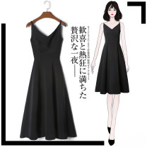 Dress Summer 2020 Black Collection Plus priority delivery white S M L XL 2XL Mid length dress singleton  Sleeveless commute V-neck High waist Solid color Socket A-line skirt other camisole 18-24 years old Type A Tan Mengluo Korean version Strap zipper LYQ1424X More than 95% Chiffon polyester fiber