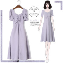 Dress Summer 2020 violet S M L XL 2XL longuette singleton  Short sleeve commute other High waist Solid color Socket A-line skirt routine Others 25-29 years old Type A Tan Mengluo literature Bow and ruffle LYQ1669 More than 95% polyester fiber Other polyester 95% 5% Pure e-commerce (online only)