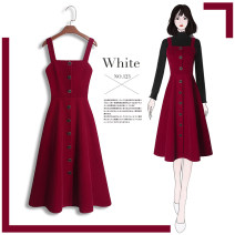 Dress Autumn 2020 S M L XL 2XL 3XL Mid length dress singleton  Sleeveless commute other High waist Solid color zipper A-line skirt routine straps 25-29 years old Type A Tan Mengluo lady Three dimensional decorative strap button zipper LYQ1360H More than 95% polyester fiber Other polyester 95% 5%