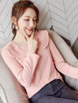 Wool knitwear Autumn of 2019 S M L XL Pink Long sleeves singleton  Socket Lycra Lycra 30% and below Regular routine commute Self cultivation Doll Collar routine Solid color Socket Simplicity 25-29 years old Wen Huan Polyethylene terephthalate (PET) 97% polyurethane elastic fiber (spandex) 3%