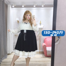 Dress Winter 2020 Dark apricot XL,2XL,3XL,4XL Mid length dress Fake two pieces Long sleeves commute High waist Socket A-line skirt routine Type A Retro Stitching, lace sfk1286 More than 95% polyester fiber