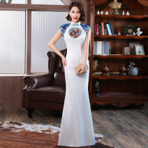 Dress / evening wear Weddings, adulthood parties, company annual meetings, daily appointments Customized contact customer service (customized non refundable) s ml XL 2XL 3XL 4XL Long white Korean version longuette middle-waisted Winter 2020 Self cultivation stand collar zipper 18-25 years old SBM108