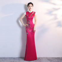 cheongsam Winter of 2019 Customized contact customer service (customized non refundable) s ml XL 2XL 3XL 4XL Long money 051 Short sleeve long cheongsam grace High slit perform Oblique lapel Over 35 years old Piping SBM051 Shibeimo polyester fiber Polyester 100% Pure e-commerce (online only)