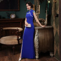 cheongsam Autumn 2020 Customized contact customer service (customized non refundable) s ml XL 2XL 3XL 4XL Long blue Sleeveless long cheongsam grace High slit perform Oblique lapel Solid color 25-35 years old SBM102 Shibeimo other Other 100% Pure e-commerce (online only) 96% and above