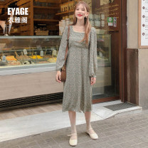 Dress Autumn of 2019 White, green S,M,L,XL Mid length dress singleton  Long sleeves commute square neck High waist Decor Socket A-line skirt bishop sleeve Others 18-24 years old Type A Other / other Korean version 51% (inclusive) - 70% (inclusive) Chiffon