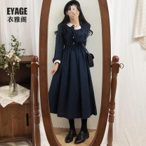 Dress Winter of 2019 Blue, Khaki S,M,L,XL Mid length dress singleton  Long sleeves commute Polo collar High waist Single breasted A-line skirt shirt sleeve Others 18-24 years old Type A Other / other Korean version Button 51% (inclusive) - 70% (inclusive)
