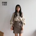 skirt Autumn of 2018 S,M,L,XL Brown, grey Short skirt commute High waist A-line skirt lattice Type A 18-24 years old 51% (inclusive) - 70% (inclusive) other Other / other other Bow, tie, tie, button Korean version