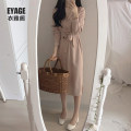 Dress Autumn of 2019 Sky blue, pink S,M,L,XL Mid length dress singleton  Long sleeves commute V-neck High waist Solid color Single breasted A-line skirt puff sleeve Others 18-24 years old Type A Other / other Korean version Bowknot, stitching, lace up