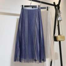 skirt Spring of 2019 Average size Pleated blue dress, black skirt Mid length dress Versatile Natural waist Pleated skirt other Type A 25-29 years old QKH920 51% (inclusive) - 70% (inclusive) other Bright silk, wrinkle