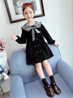 Dress black female Farley bear 110cm 120cm 130cm 140cm 150cm 160cm Other 100% spring and autumn Korean version Long sleeves Solid color other A-line skirt 9658 Navy collar dress Class B Spring 2021 Chinese Mainland Zhejiang Province