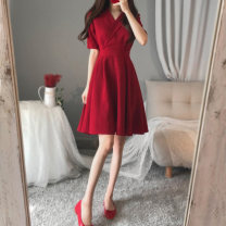 Dress Summer 2020 Red dress black dress S M L XL 2XL XS Mid length dress singleton  elbow sleeve commute tailored collar High waist Solid color zipper A-line skirt puff sleeve Others 18-24 years old Yibaba Costume Korean version XP-5349 More than 95% other Other 100% Pure e-commerce (online only)