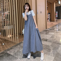 Dress Bu Xiaoer (residential furniture) Blue strap skirt suit M L XL XXL Korean version Sleeveless have more cash than can be accounted for summer No collar Solid color Denim 0822#