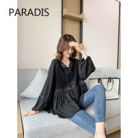 shirt Off white, black M, L Spring 2021 other 51% (inclusive) - 70% (inclusive) Long sleeves commute Regular V-neck Socket bishop sleeve Solid color 30-34 years old High waist type Paradis Korean version L0A82723S Hollow, lace