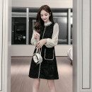 Dress Winter of 2019 black S M L XL Miniskirt singleton  Long sleeves commute Lotus leaf collar Loose waist Solid color Socket routine Others 18-24 years old Cherry and lemon Korean version 6936# More than 95% other Other 100% Pure e-commerce (online only)