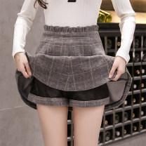 skirt Autumn 2020 S M L XL 2XL Grey black Short skirt High waist A-line skirt More than 95% Cherry and lemon other Other 100%