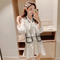 Dress Autumn of 2019 White black S M L XL Middle-skirt Two piece set Long sleeves commute V-neck High waist lattice Socket Ruffle Skirt pagoda sleeve Others 25-29 years old Type A Cherry and lemon Korean version Bow and ruffle stitching More than 95% other Other 100.00% Pure e-commerce (online only)