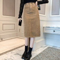 skirt Winter 2020 S M L XL Black Khaki Mid length dress commute Natural waist 18-24 years old More than 95% corduroy Cherry and lemon other Korean version Other 100% Pure e-commerce (online only)