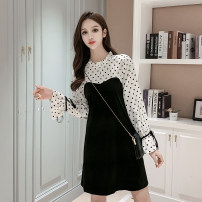 Dress Autumn 2020 black S M L XL Mid length dress singleton  Long sleeves commute stand collar High waist Dot Socket A-line skirt pagoda sleeve Others 25-29 years old Type A Cherry and lemon Korean version Auricular lace up More than 95% other Other 100% Pure e-commerce (online only)