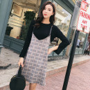 Dress Spring 2020 S M L XL Mid length dress Two piece set Long sleeves commute Crew neck Loose waist lattice Socket A-line skirt routine straps 18-24 years old Type H Cherry and lemon Korean version 885# More than 95% other Other 100% Pure e-commerce (online only)