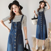 Dress Autumn of 2019 Blue Skirt Blue Medium Length Skirt S M L XL XXL XXXL XXXXL XXXXXL Mid length dress singleton  commute High waist Solid color Socket A-line skirt straps 18-24 years old Type A Shu yueyun Korean version SLYNZ101 51% (inclusive) - 70% (inclusive) cotton Cotton 60% polyester 40%