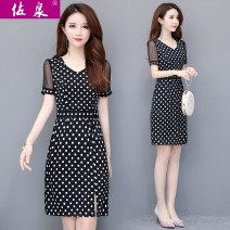 Dress Summer 2020 Wave point L XL 2XL 3XL 4XL Mid length dress singleton  Short sleeve commute V-neck middle-waisted Dot Socket A-line skirt routine Others 40-49 years old Type A Zuoquan Korean version Stitched zipper print More than 95% other polyester fiber Polyester 95.00% others 5.00%
