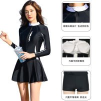 one piece  Other brands Skirt one piece With chest pad without steel support Nylon, spandex H9600 female Long sleeves Casual swimsuit Solid color