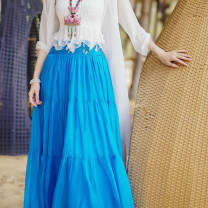 skirt Summer 2020 S M Lake blue longuette commute Natural waist A225141 More than 95% Flower making silk Embroidery ethnic style Mulberry silk 100% Same model in shopping mall (sold online and offline)