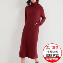 Dress Summer 2020 Drunk Mijing flower camel Youxin blue Poland red black S M L XL XXL longuette singleton  Long sleeves commute High collar middle-waisted Solid color Socket other routine 30-34 years old Type H Xiang Rong Yue Simplicity pocket JN2026 More than 95% knitting wool Wool 100%
