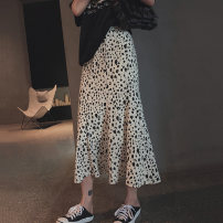 skirt Summer 2020 S,M,L white Mid length dress commute High waist A-line skirt Leopard Print Type A 25-29 years old Ll6248 leopard dot fishtail skirt 91% (inclusive) - 95% (inclusive) Other / other acrylic fibres printing Korean version