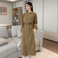 Dress Spring 2020 Green, apricot, like collection, pay attention to baby free freight insurance S. M, l, XL Large Mid length dress singleton  Long sleeves commute Crew neck middle-waisted Solid color Socket A-line skirt shirt sleeve 91% (inclusive) - 95% (inclusive) other
